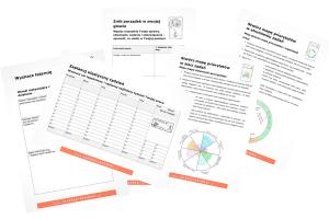 Zestaw ćwiczeń do elastycznego zarządzania czasem, który zawiera formularze organizacji tygodnia pracy, planu dnia, wyznaczania celów i wychodzenia z zaległości